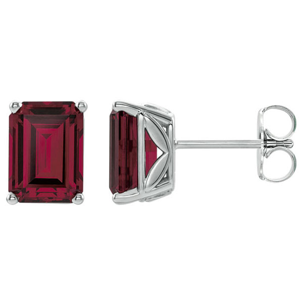 8x6mm Garnet Stud Earrings, 14K White Gold