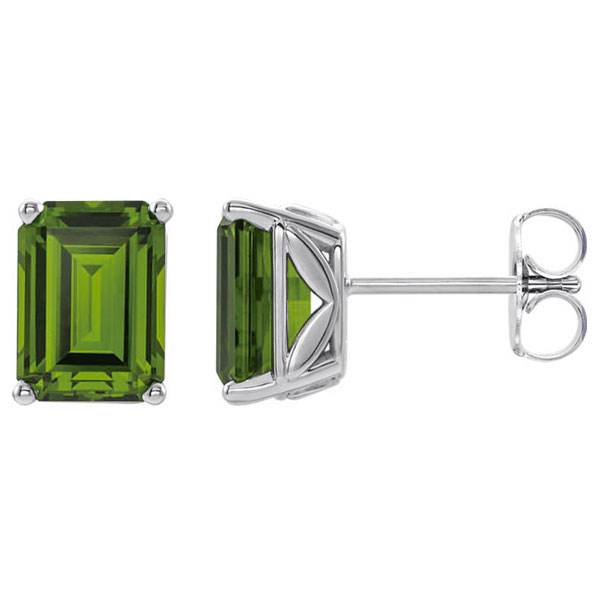 8x6mm Peridot Gemstone Stud Earrings, 14K White Gold