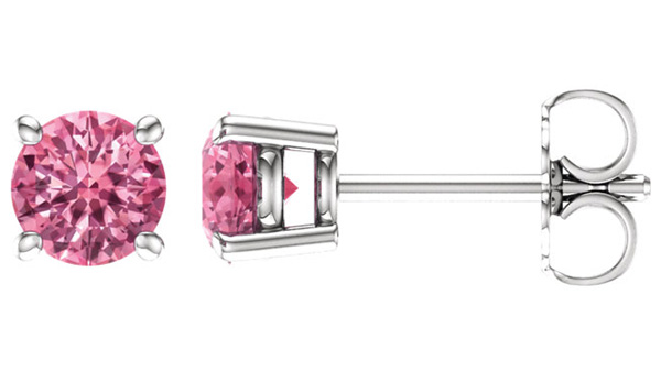 Baby Pink Topaz Gemstone Stud Earrings, 14K White Gold