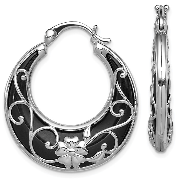 Black Onyx Flower Hoop Earrings, Sterling Silver
