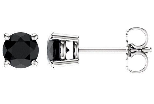 Black Onyx Stud Earrings in 14K White Gold