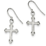 Budded Cross Earrings in Silver