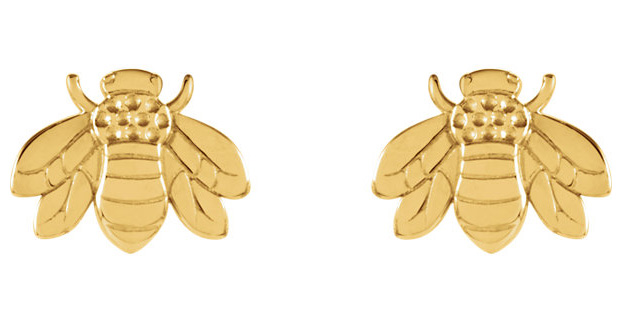 Bumblebee Earrings, 14K Gold