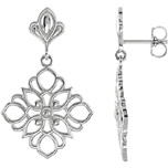 Dangling Floral Earrings in Sterling Silver