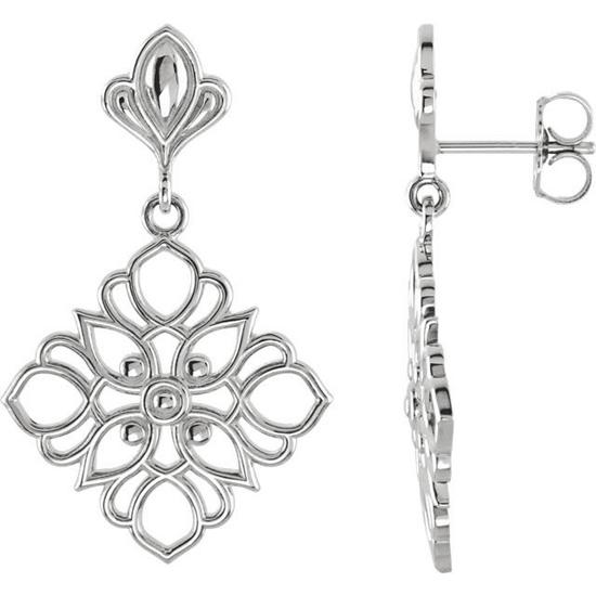 Dangling Floral Earrings in Sterling Silver