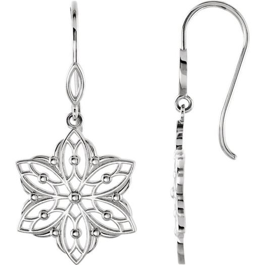 Decorative Dangle Flower Earrings in Silver