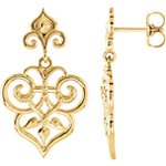 Decorative Design Earrings in 14K Yellow Gold