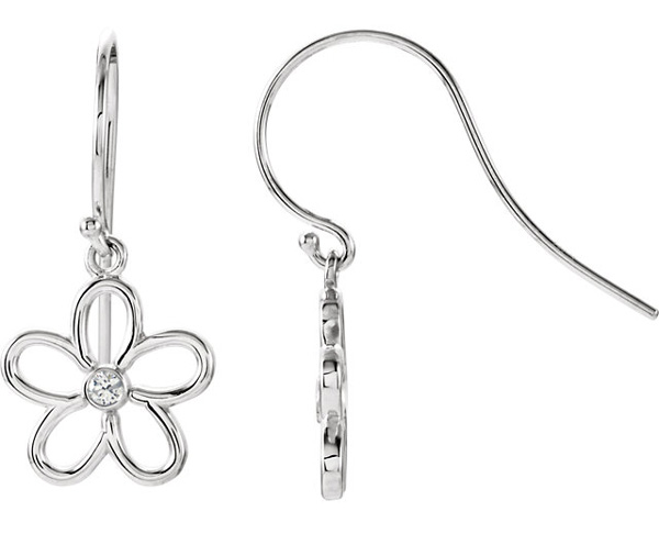 Diamond Flower Earrings, Sterling Silver