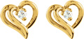 Dual Diamond Heart-Shaped Earrings in 14K Gold