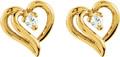 Dual Diamond Heart-Shaped Earrings in 14K Gold