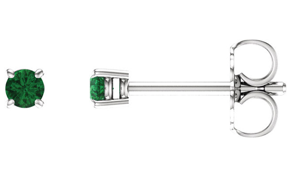 2.5mm Emerald-Stud Earrings, 14K White Gold