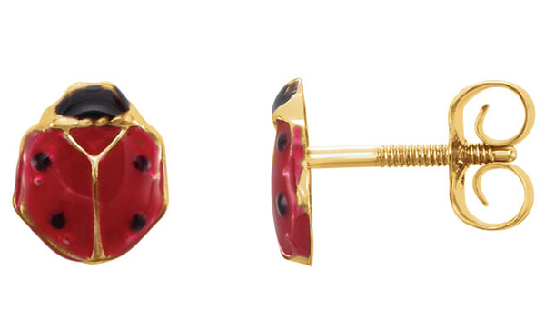 Enameled Ladybug Earrings in 14K Gold