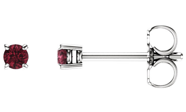 2.5mm Garnet Stud Earrings, 14K White Gold
