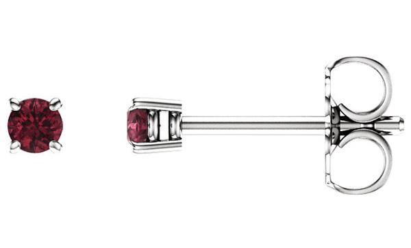 2.5mm Garnet Stud Earrings, 14K White Gold