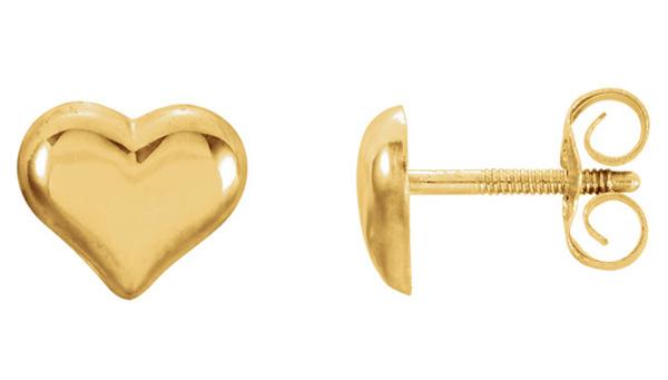 14K Gold Puffed Heart Stud Earrings