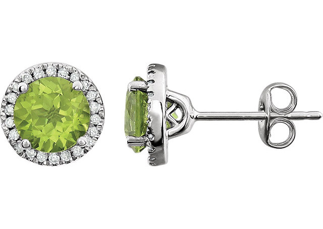 Green Peridot and Diamond Halo Stud Earrings