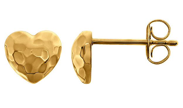 Hammered Heart Stud Earrings in 14K Gold