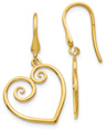 Heart Scroll Earrings in 14K Gold