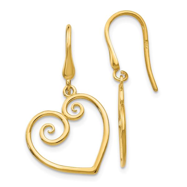 Heart Scroll Earrings in 14K Gold