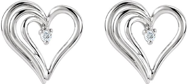 Heart within a Heart Diamond Earrings