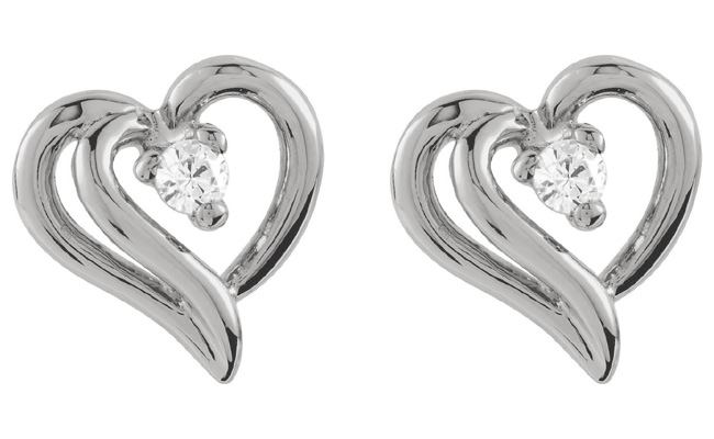 Heart Within Diamond Earrings, 14K White Gold