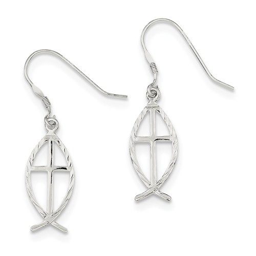 Silver Ichthus Cross Earrings