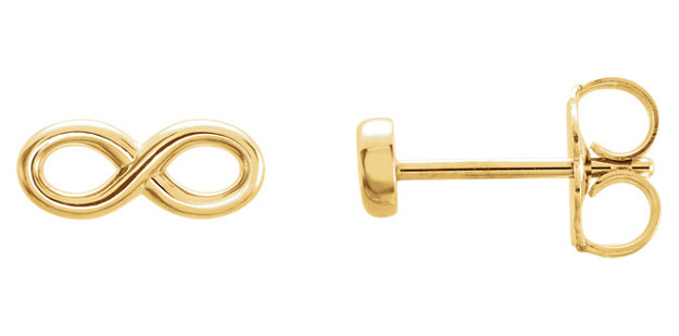 Infinity Stud Earrings in 14K Yellow Gold