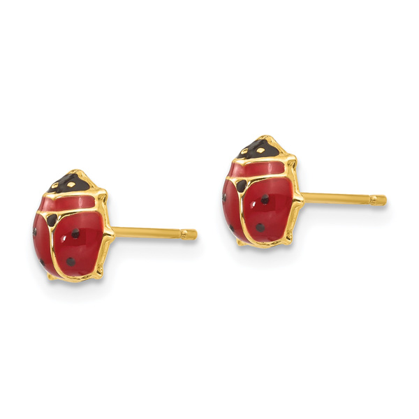 Italian Enameled Ladybug Stud Earrings in 14K Gold