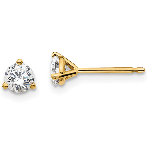 Lab Made 1 Carat Total 3-Prong Diamond Stud Earrings in 14K Yellow Gold