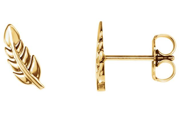 Leaf Post Stud Earrings, 14K Gold