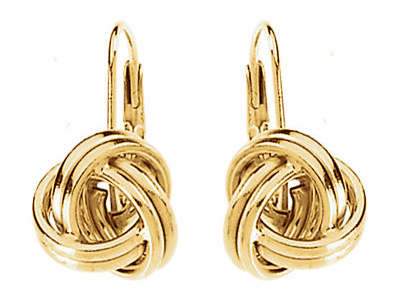 Lever-Back Knot Earrings, 14K Gold