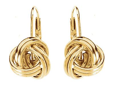 Lever-Back Knot Earrings, 14K Gold