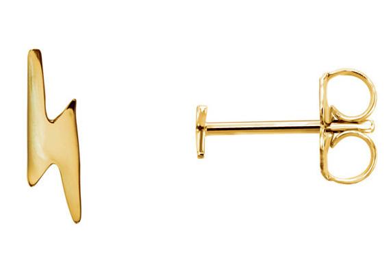 Lightning Bolt Stud Earrings, 14K Gold