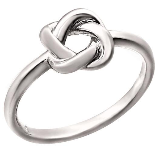 14K White Gold Designer Love-Knot Ring