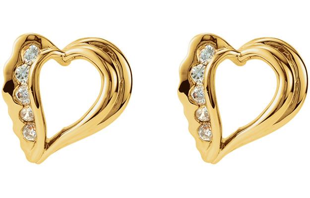 Natural Heart Diamond Earrings, 14K Gold