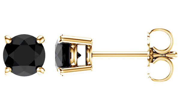 Onyx Stud Earrings, 14K Gold