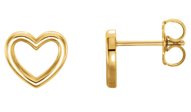 Open Heart Stud Earrings in 14K Gold