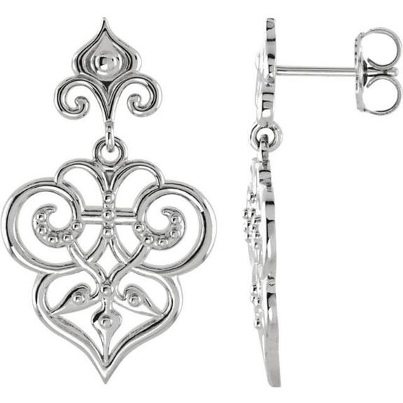Ornate Design Earrings in Sterling Silver