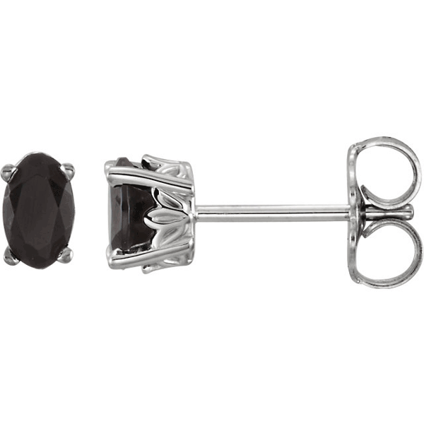 Oval Black Onyx Stud Earrings with Scroll-Work Design, 14K White Gold