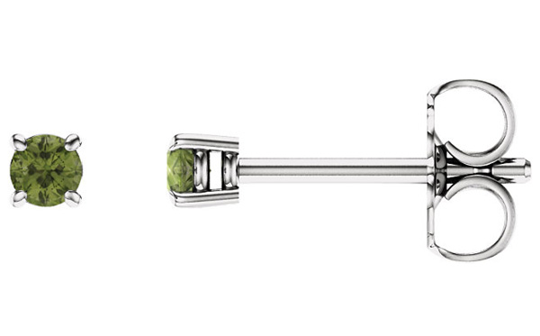 2.5mm Peridot Stud Earrings, 14K White Gold