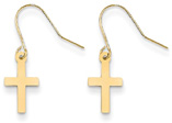 Plain French-Wire Cross Earrings, 14K Yellow Gold