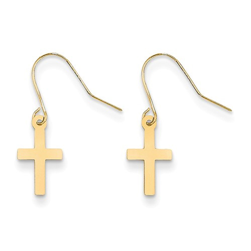 Plain French-Wire Cross Earrings, 14K Yellow Gold