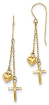 Puffed Heart and Cross Dangle Earrings, 14K Gold