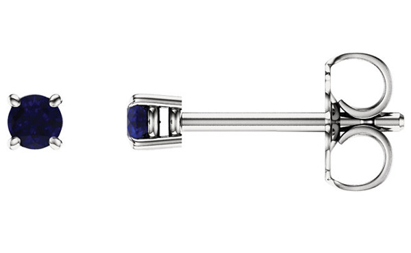 2.5mm Blue Sapphire Stud Earrings, 14K White Gold