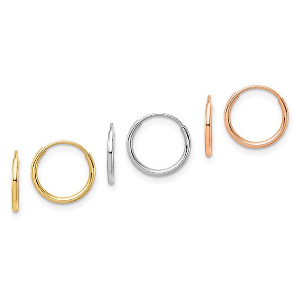 Set of 3 Tiny 14K Tri-Color Gold Hoop Earrings