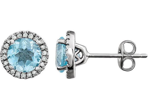 Sky Blue Topaz Diamond Halo Stud Earrings