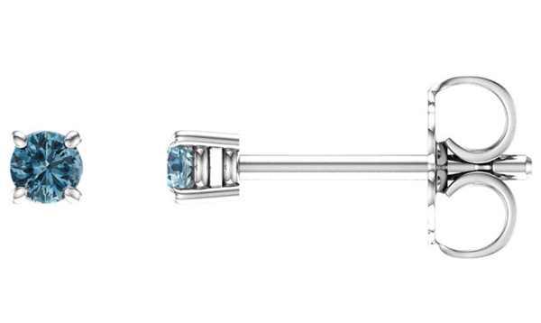 2.5mm Sky Blue Topaz Stud Earrings, 14K White Gold