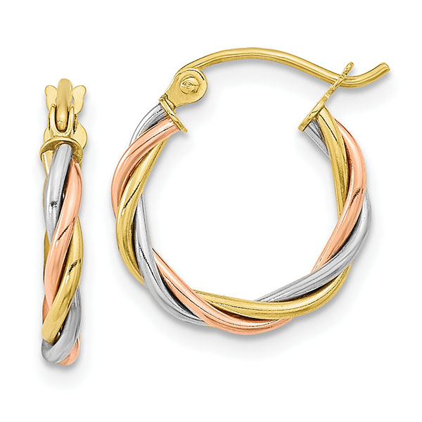 Small 10K Tri-Color Gold Twisted Hoop Earrings, 5/8