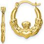 Small Claddagh Hoop Earrings, 10K Gold