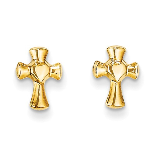 Small Cross in Heart Earrings, 14K Gold